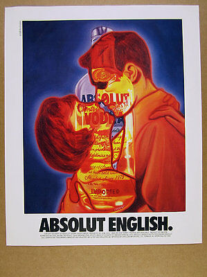 1993 Absolut ENGLISH Ron English couple embracing bottle art vintage print Ad