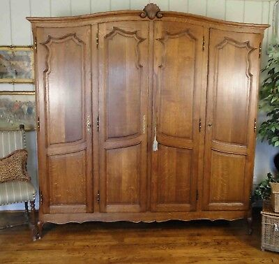 Antique French Country Wardrobe Armoire four door shelves hanging rod oak keys
