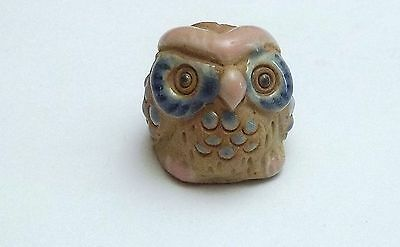 chouette miniature en grès, oiseau collection, hibou , owl, uil  **CL8-21