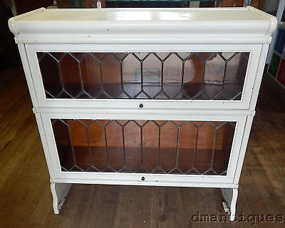 Antique Globe Wernicke Leaded Glass 2 Section Stacking Bookcase Painted White