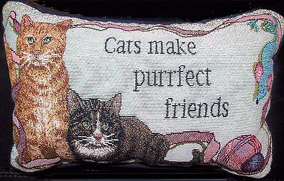 Cat Pillow Small Tapestry Throw Pillow Pre-Loved Cats Make Purrfect Friends