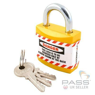 Jacket Padlock with Regular Shackle - Key Different (Yellow)