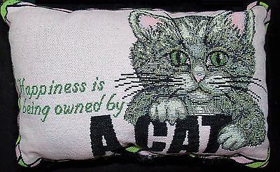 Cat Pillow Small Tapestry Throw Pillow Used Happiness is Being Owned By A Cat