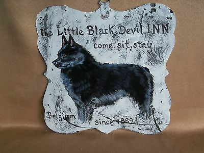 HP Schipperke double sided SIGN painting hand painted tin dog ART DEVIL INN CLUB