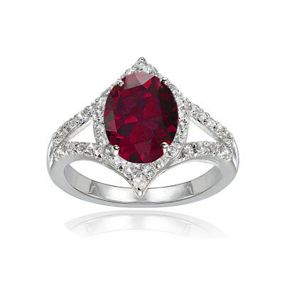 Sterling Silver Created Ruby and White Topaz Oval Fashion Split Shank Ring