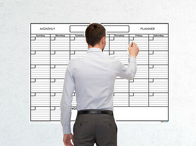 36x48 Monthly Erasable Blank Reusable Undated 1 Month Wall Calendar Planner