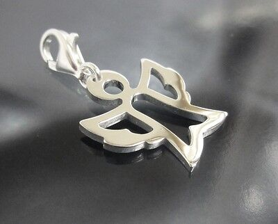 925 Sterling Silver Angel Charm Pendant with clasp For Chain necklace 1 inch