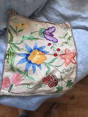 Vintage Linen Cushion Cover Fabulous Embroidery