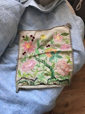 Vintage Linen Cushion Cover Stunning Embroidery