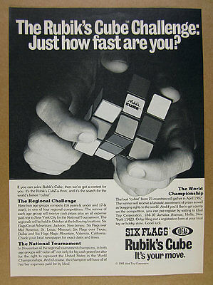1981 Rubik's Cube Challenge tournament competition Ideal Toy vintage print Ad