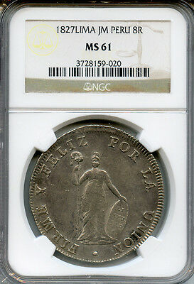 Peru 1827-Jm-Lima 8 Reales Rare Date Coin Graded Ngc-Ms-61-Unc.
