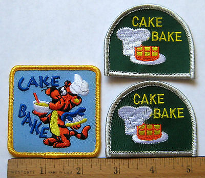 Girl Scout Guide CAKE BAKE LOT of 3 FUN PATCH Bakery Pastry Chef Cooking Badge