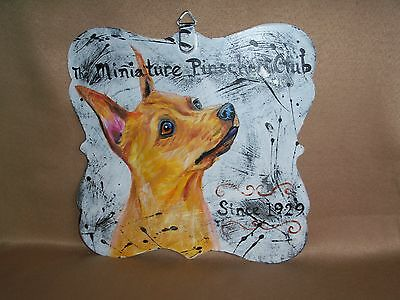 HP Miniature Pinscher double sided SIGN painting hand painted dog ART INN CLUB