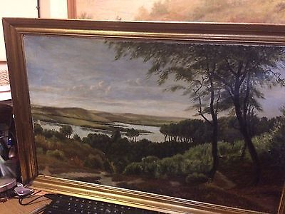 19th Century Lovely Oil on Canvas Framed Landscape Painting-unsigned
