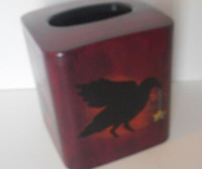 hand painted/signed plastic tissue box cover  Crow/Raven design on each side