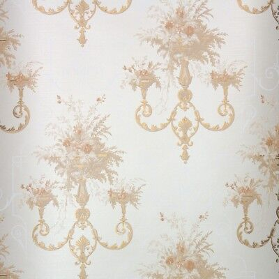 1960s Vintage Wallpaper Retro Floral With Peach And Gold