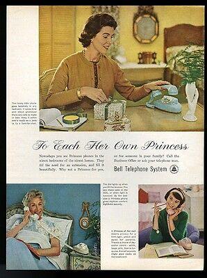 1961 Bell Telephone Princess phone pink blue white 3 women photo print ad