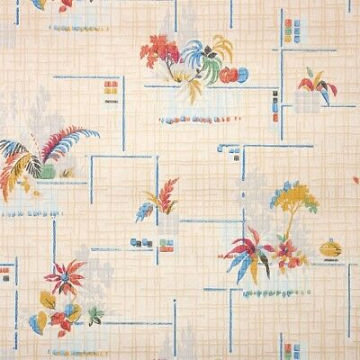 1930s Vintage Wallpaper Antique Botanical Multi-Colored Flowers and Trees