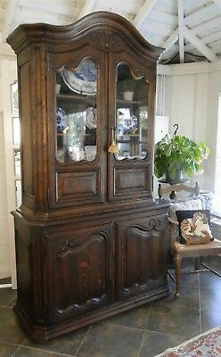 Antique French China Curio Bookcase Carving Old Style Glass Display Oak -Shelves