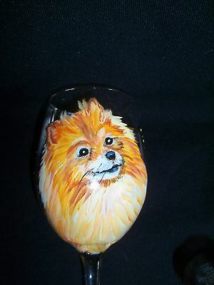 HP Pomeranian WINE GLASS hand painted painting dog ART butterflies baked enamel