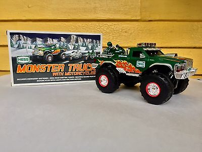 2007 Hess Monster Truck with Motorcycle and Original Box Works Great