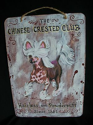 HP Chinese Crested double sided SIGN painting hand painted dog ART INN / CLUB