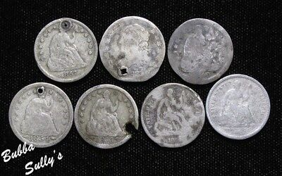 Group of 7 Half Dimes <> All ABOUT GOOD to GOOD