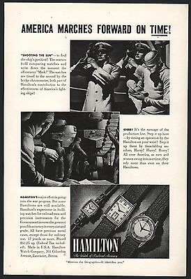 1942 WWII HAMILTON Antique Watch PRINT AD US Navy Officer's Mark Time on Ship