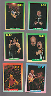Lot of 6 AC/DC rock band trading cards Pub.1991 Johnson Young Williams Slade