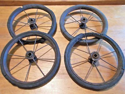 4 Vntg Wire Spoke Buggy Wagon Wheels Wall Art Metal Hard Rubber Tires Steampunk