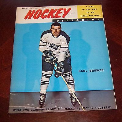 Hockey Pictorial February 1962 Carl Brewer # 2