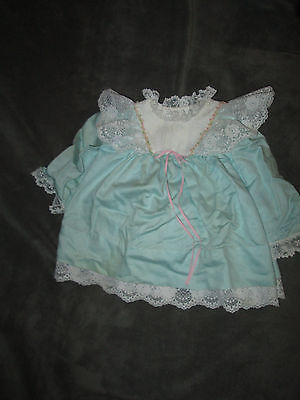 Vintage Baby Girl Green & White Dress Lace 6-9 months