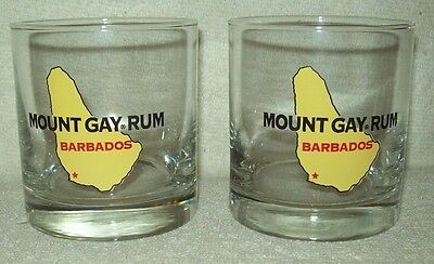 Set of 2 Mount Gay Rum Barbados Clear Rocks Glasses NEW