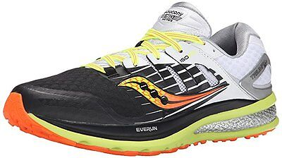 Saucony Mens TRIUMPH ISO 2 running shoes size 12 NEW BLACK WHITE CITRON