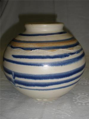 Hand Made And Hand Painted Pottery Round Vase