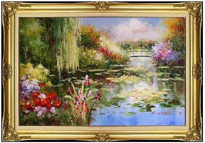 Framed, Monet Garden at Giverny Repro 26, Hand Painted Oil Painting 24x36in