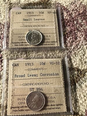 1913 Canada 10 Cents Broad And Small Leaves!