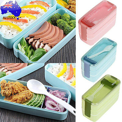 900ml Portable 3 Layer Bento Oven Lunch Box Microwave Food Safe Storage + Spoon
