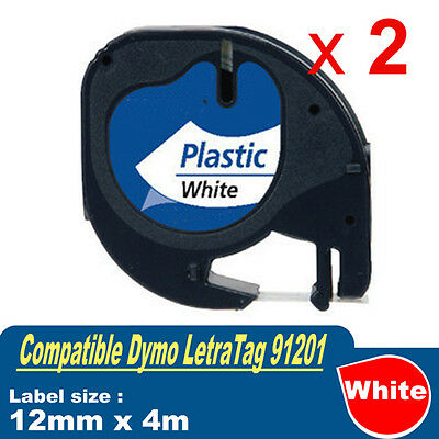 2x Generic LetraTag Plastic Tape for Dymo SD91201 Black on White 12mm x 4m