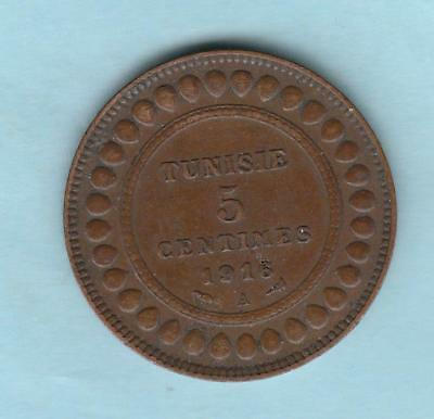 AH1334/1916A Tunisia 5 Centimes lots of detail remaining on this little coin
