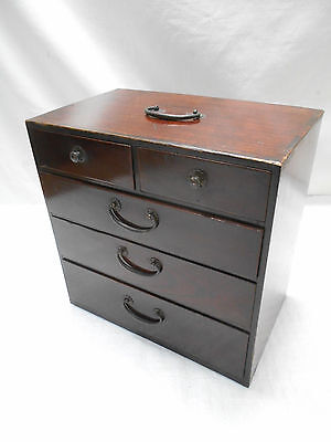Antique Kiri Wood Sewing Box Japanese Drawers Circa 1890s #654