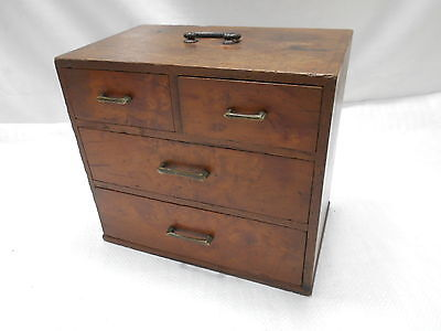 Antique Keyaki and Kiri Wood Sewing Box Japanese Drawers Circa 1910s #662