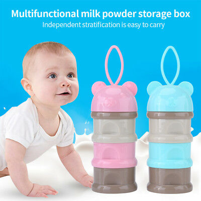 Baby 3 Tier Milk Powder Dispenser Feeding Food Storage Box Travel Container LY