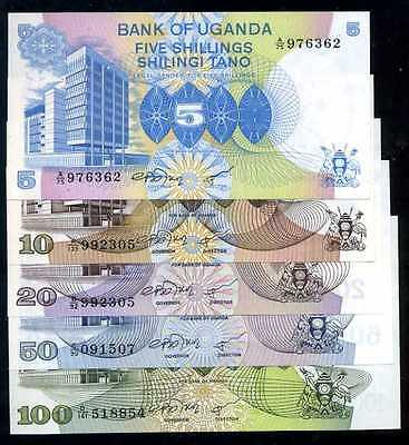 UGANDA  5+10+20+50+100 SHILLINGS 1979  P 10+11+12+13+14 SET 5 PCS  Uncirculated