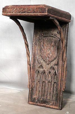 Antique French Gothic Wrought Iron Architectural Fragment Bracket Shelf 1600's