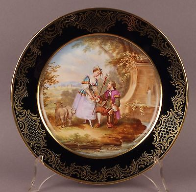 Beautiful Antique 19thC French Sevres Jeweled Gilded Porcelain Cabinet Plate
