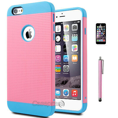 """Rugged Rubber Hard Shockproof Cover Case for Apple iPhone 6 Plus 5.5"""" Blue/Pink"""