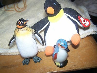 lot of 3 collectible penguin figures 1 TY