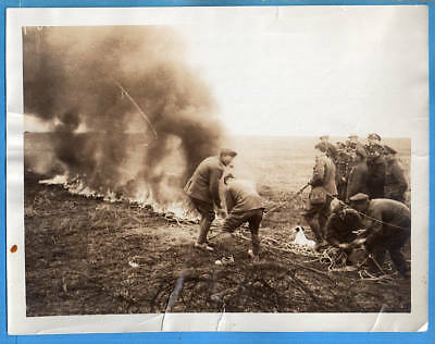 WWI Remains of Observation Balloon Burning on British Front Original News Photo