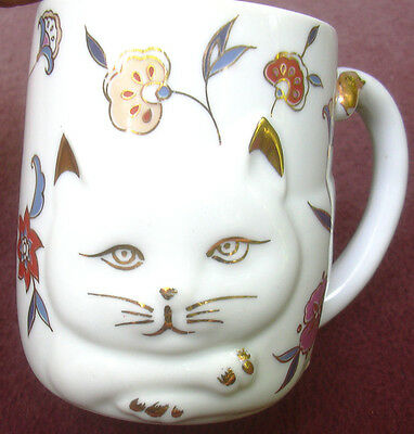 Ceramic White Cat Mug Coffee Cup Flowers Gold Trim